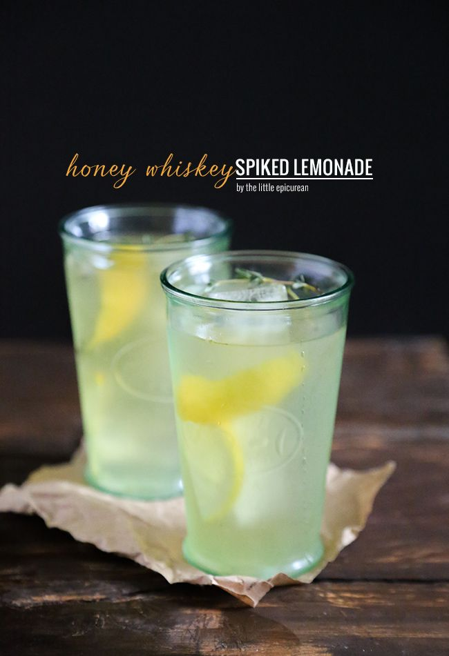 Whiskey lemonade with honey and thyme