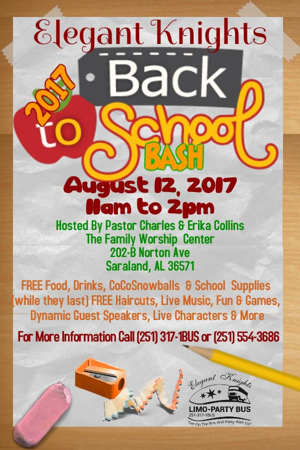 Elegant Knights Limo-Party Bus will have it's 5th Annual Back To School Bash on Saturday, August 12, 2017. Pastors Charles and Erika Collins of The Family Worship Center, Saraland, AL, has been gracious enough to be the host venue again this year. (See Flyer For Details). Take a look at last years' highlights by clicking on these links > https://youtu.be/021iVeuI4i4 https://youtu.be/iM-kk7jhvO0 https://youtu.be/zLiYMuEtQQY https://youtu.be/sk1bos_Et7E https://youtu.be/El0CbXqgOyE Donations…