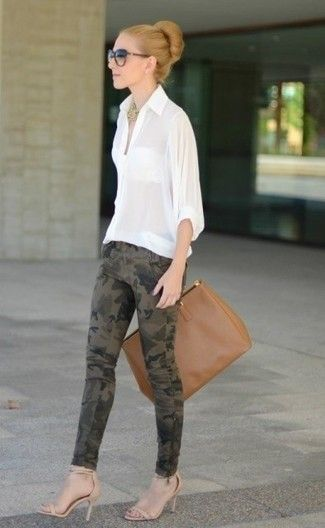 Women's White Button Down Blouse, Olive Camouflage Skinny Jeans, Beige Leather Heeled Sandals, Brown Leather Tote Bag