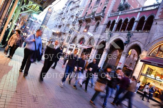 Blurry People at The Istiklal Street royalty-free stock photo