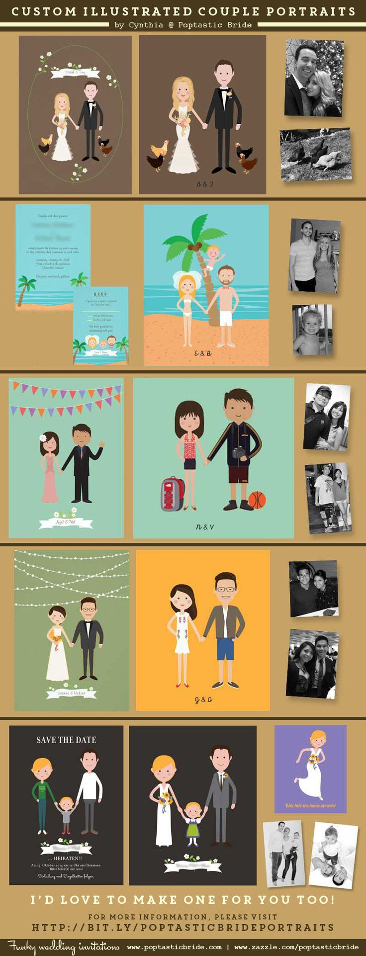 Custom illustrated couple portraits | cute wedding portrait illustration | cartoon couple wedding illustrations by Poptastic Bride. These are some of the portraits for real couples that I've done. Please click on the image for more information.
