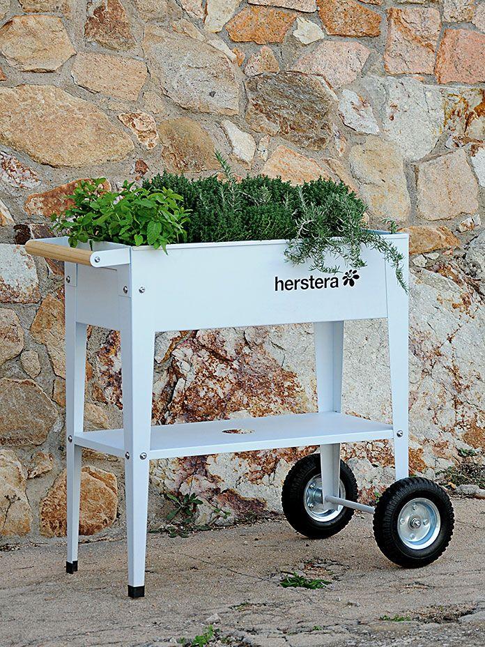 Gartentrolley Urban Barcelona mit Gummirolle, weiß