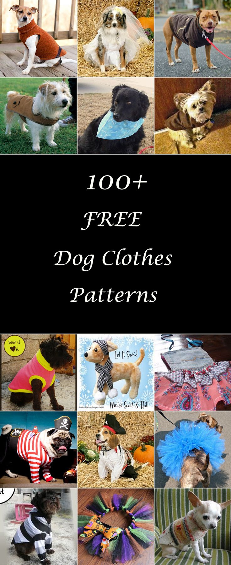 Lots of free dog clothes sewing patterns. Diy dog t-shirts, dresses, coats, and more, for large and small dogs. How to make dog clothes. Dog clothes tutorials & projects.