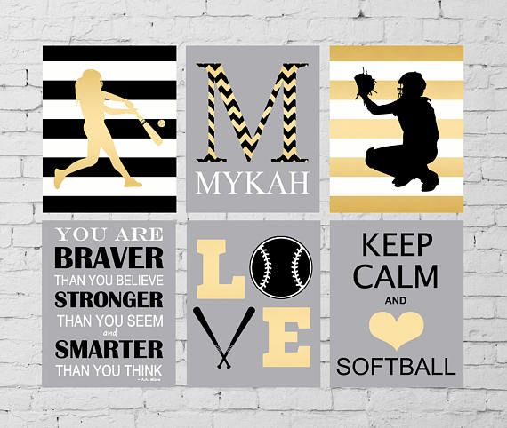 Softball wall art, softball room wall decor, softball batter, softball catcher, keep calm, LOVE wall art, inspirational softball art
