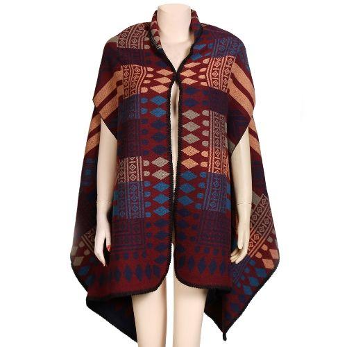 New Vintage Women Winter Poncho Cape Contrast Geometric Pattern Warm Cardigan Long Shawl Scarf Pashmina