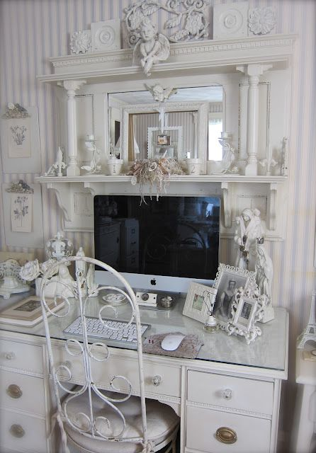 Petite Michelle Louise: Where Bloggers Create 2012.  Several ideas here.  Look at the repurpose mantle!