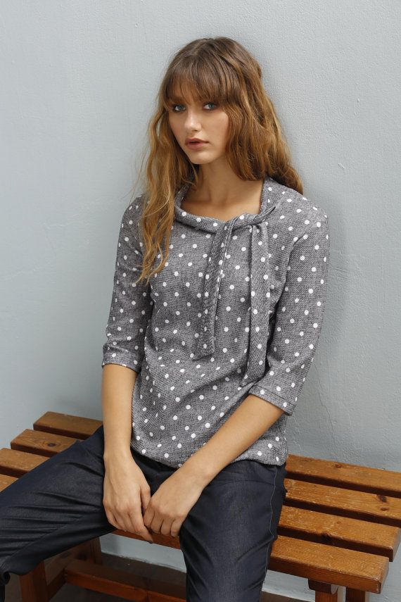 Polka dot shirt - Bow shirt - Loose shirt - 3/4 sleeve shirt  - Pullover sweater…