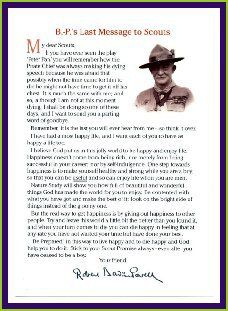 """Baden Powell prepared this farewell message 1 to his Scouts, for publication after his death:""""Dear Scouts – If you have ever seen the play """"Peter Pan"""" you will remember how …"""