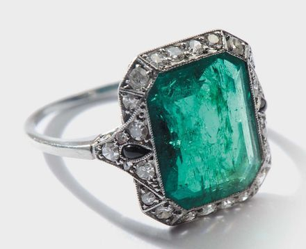 Emerald, Diamond & Platinum Ring