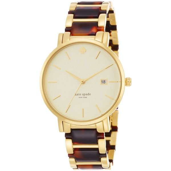 kate spade new york Women's Gramercy Grand Tortoise and Gold-Tone... ($113) ❤ liked on Polyvore featuring jewelry, watches, accessories, no color, kate spade watches, stainless steel jewelry, gold-tone watches, tortoise shell watches and gold tone bracelet watch