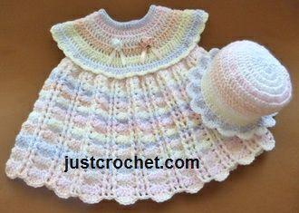 Free baby crochet pattern for dress & sun hat FJC82 http://www.justcrochet.com/dress-sun-hat-usa.html #justcrochet