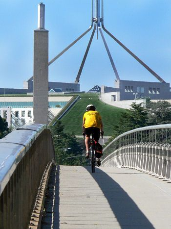 Riding to work - Parliament House, Canberra, Australia