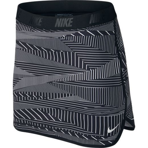 Black/Metallic Silver Nike Ladies Flip Print Pull On Golf Skort, powered by Dri-FIT technology to help you stay dry and comfortable. Nike Flex fabric in the outer skirt stretches with your body so you can move naturally without restriction. One of the best dri-fit outfits ever! More of this at #lorisgolfshoppe