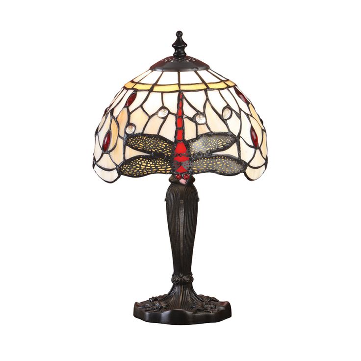 Dragonfly Intermediate Tiffany Style Beige Table Lamp - Interiors 1900 64087