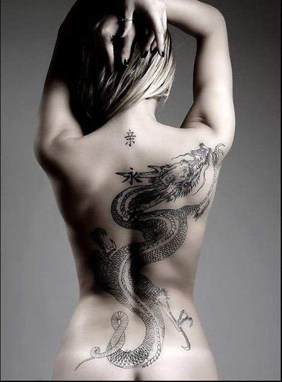 Joli dessin pour un tatouage femme dragon sur le dos https//tattoo.