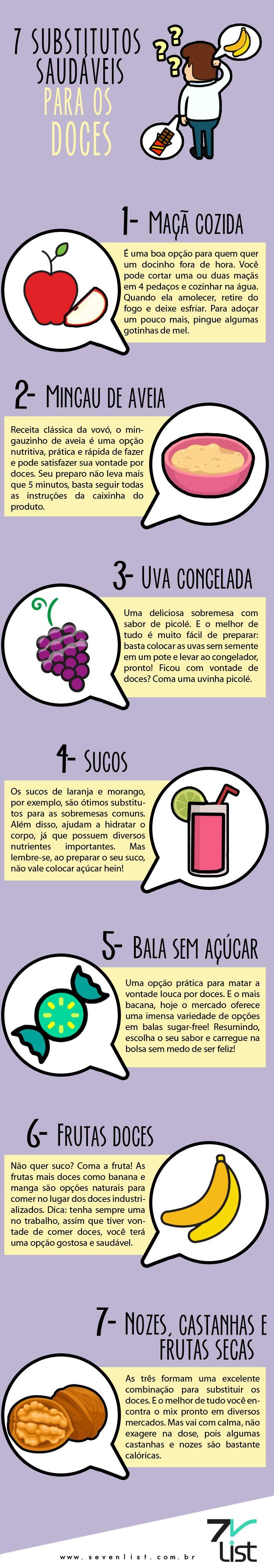infográfico / Infographic / design / doces / substitutos / alimentação / alergia / diabetes / opção saudável / maçã / mingau / uva / sucos / bala sem açúcar /frutas / nozes / castanha #frutas secas / açúcar www.sevenlist.com.br