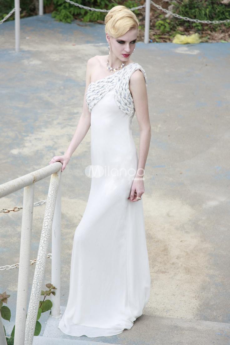 gamesinfomation.com White Sheath One-Shoulder Crochet Polyester Womens Prom Dress coupon| gamesinfomation.com