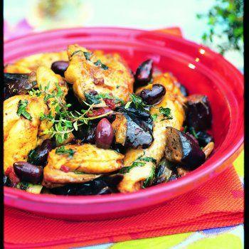 Tajine de poulet et d'aubergines aux olives violettes - Maghreb - Moyen-Orient - Maroc