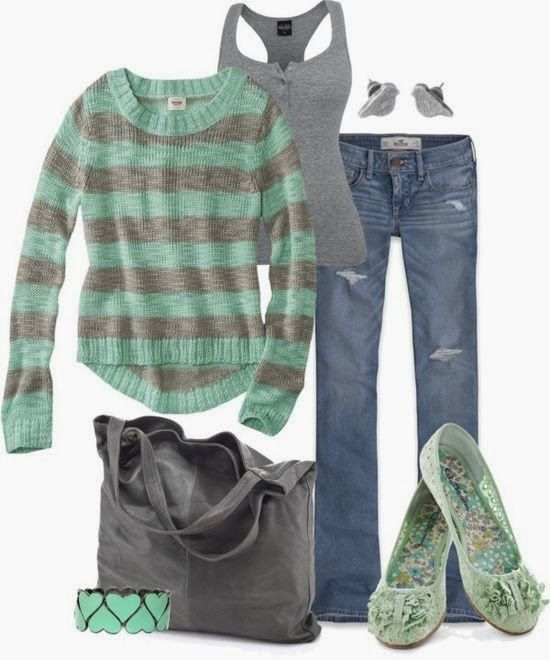 Stylish Winter Outfit With Striped Sweater