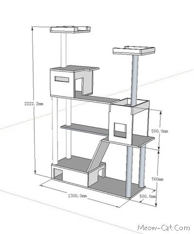 DIY Cat Tree Plans   Cat tree plan for 4 in 1 cat tower