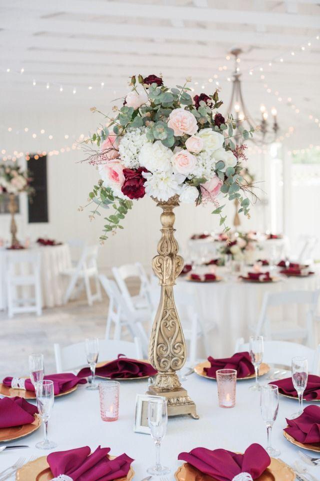 Add Some Navy To This Burgundy Garden Wedding At Cross Creek Ranch Gold Wedding Centerpieces Gold And Burgundy Wedding Blush Wedding Centerpieces