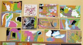Todos estos trabajos están realizados sobre cartones sacados de cajas de galletas, de juguetes...
