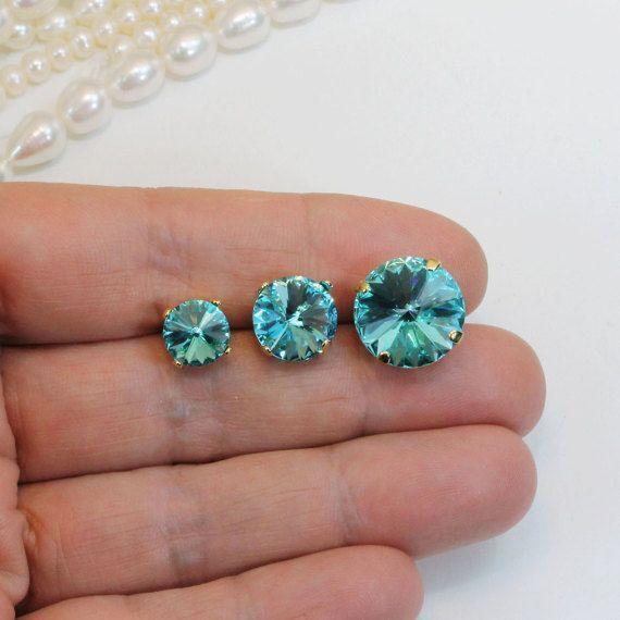 Aqua Blue Crystal Earrings Brincos Casamento De Praia Swarovski Aquamarine Grandes Damas De Honra Luz Turquesa 8mm 10mm 14mm, Post Earrings, Gold, GE113
