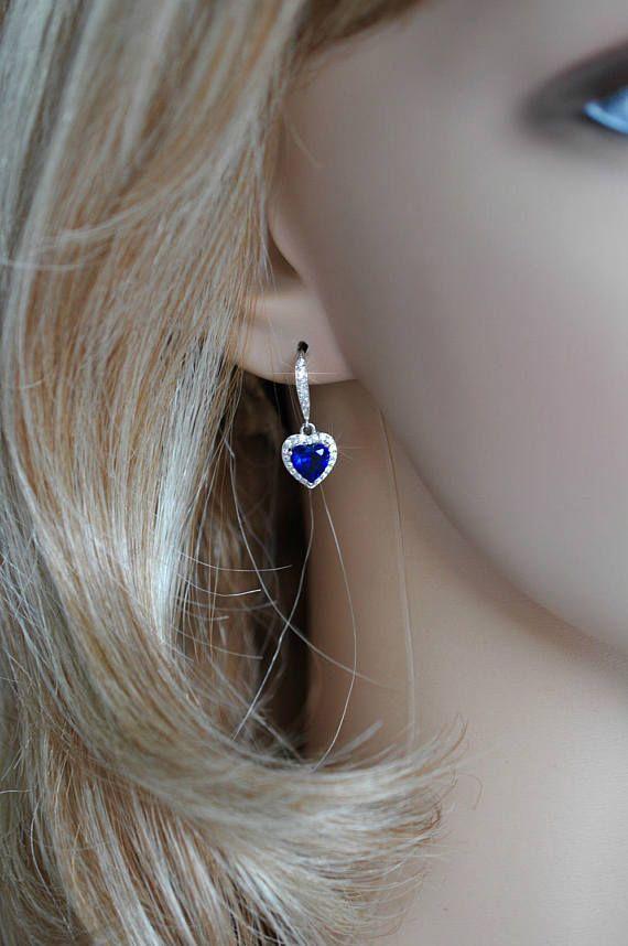 Handmade Delicate Sapphire Blue Cubic Zirconia CZ Heart Halo