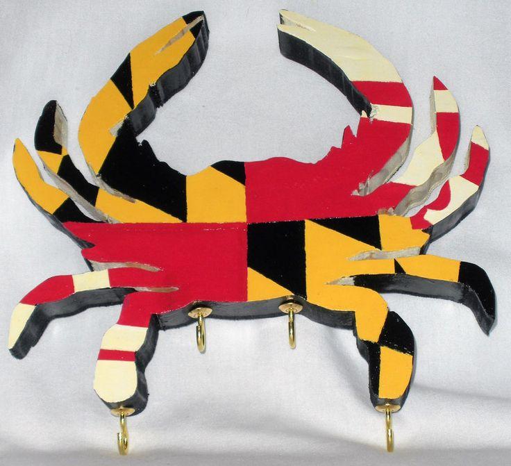 Maryland Flag Crab Key Hook Holder Organizer Rack Handmade  #Handmade #Maryland #flag #crab #key #keyrack #keyhook #keystorage #keyorganizer #keyholder #wood #acrylic #handpanted #painted #marylandcrab #marylandflag #marylandpride #mdcrab #mdflag #marylandbluecrab #mdbluecrab #md #house #home #homedecor #ebay
