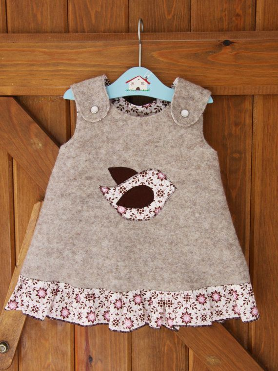 BABY GIRL DRESS  bird applique  beige brown by fromanawithlove, $35.00