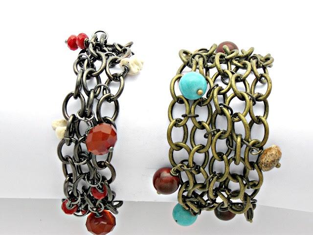 DIY bracelet: Chain Mail Bracelets, Charm Bracelets, Jewelry Inspiration, Charms, Chains, Mail Beaded, Diy Jewelry