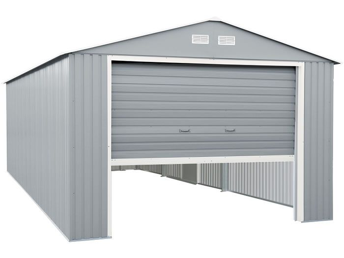 Duramax 12x20 Light Gray Metal Storage Garage Kit 50952 Metal Storage Garage Garage Door Styles Garage Storage