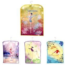 Rhythmic Girls Leotard Holder by Pastorelli: Pastorelli presents another leotard holder you can rely on!  Each leotard holding case is constructed from tear-resistant fabric and features beautiful illustrations depicting rhythmic gymnastic routines.  The leotard holder is completely fortified from every angle with side closures.  Just one of Pastorelli's leotard holders is capable of securing 2 leotards! On sale for $40.