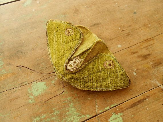 Large fabric moth soft sculpture / olive green / upcycled textile art / brooch pin