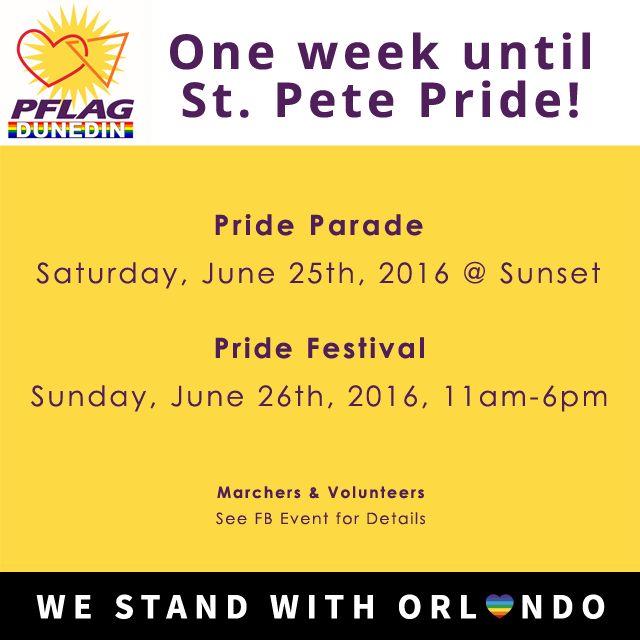 One week until #StPetePride! To RSVP to our events, go here: https://www.facebook.com/DUNEDINPFLAG/events  #Pride #PFLAG #LGBT #LGBTQ #LoveIsLove #dunedinfl #dunedin #LGBTpride #LGBTyouth #support #love #LoveWins #transpride #trans #transgender #bisexualpride #gaypride #queerpride #queer