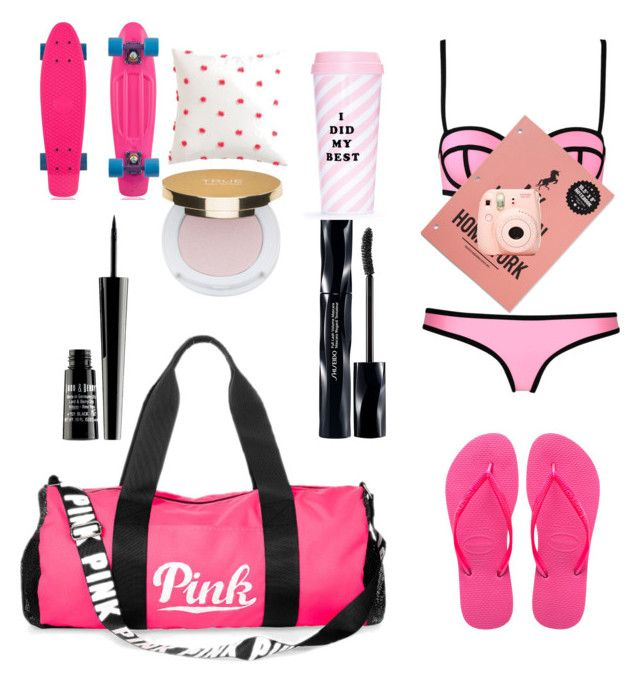"""""""Pink Swimmer"""" by mackenzierapacki on Polyvore featuring Havaianas, Victoria's Secret PINK, Shiseido, Lord & Berry, Isaac Mizrahi, Milly, ban.do and Ethan Allen"""