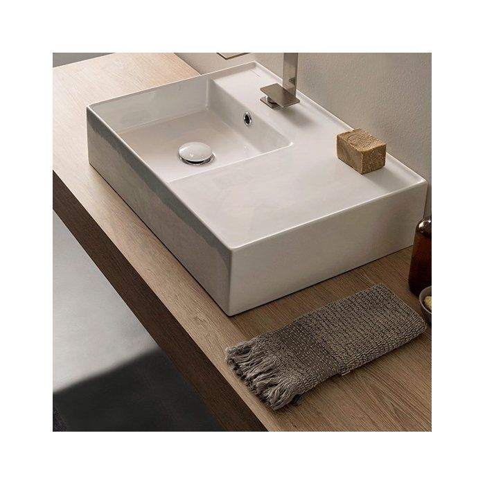 Teorema Ceramic Rectangular Vessel Bathroom Sink With Overflow
