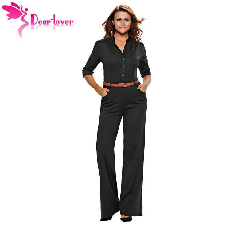 Dear Lover Jumpsuit Long Office Ladies Overall for Women 2017 Black Half Sleeves Belted Wide Leg Romper Macacao Feminino LC64205