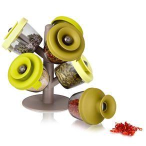 Porta Condimentos com Suporte Vacu Vin 21079 - 6 peças - Porta Condimentos no Pontofrio.com