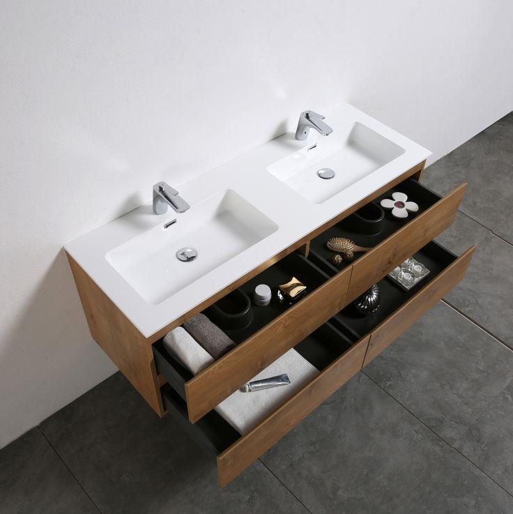 badmbel set alice 1380 eiche spiegel optional - Luxus Hausrenovierung Doppel Waschbecken Design