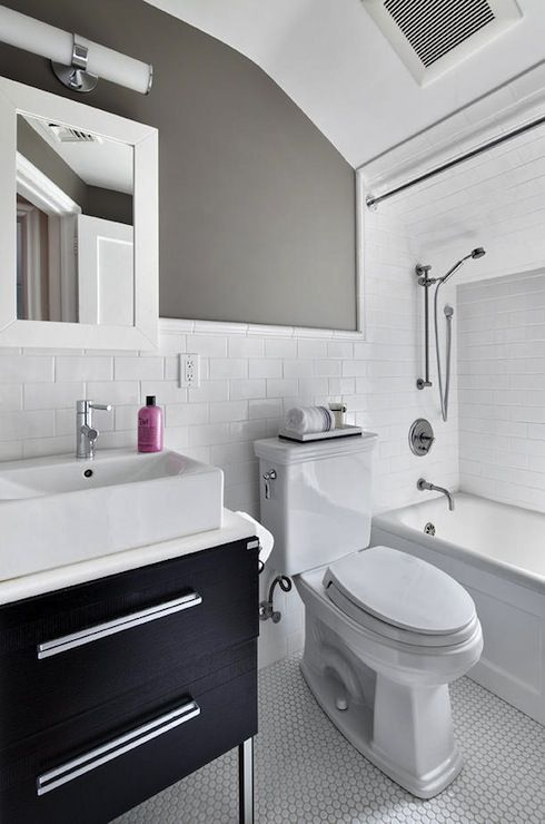 Contemporary White, Gray And Black Bathroom With White Penny Tiled Floors  And White Subway Tiled