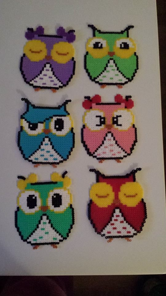 Owls hama perler beads by Pernille Henriksen
