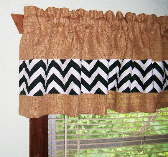 Burlap And Chevron Window Curtain Valance 4 By LamourHomeDecor, $40.00