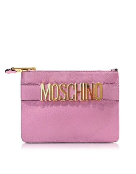 MOSCHINO PINK ECO LEATHER MINI POUCH W/GOLDEN LOGO
