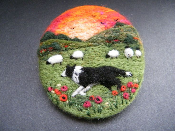 Hanmade Needle Felted Brooch Gift ' Gwen and The Sunset' by Tracey Dunn | eBay