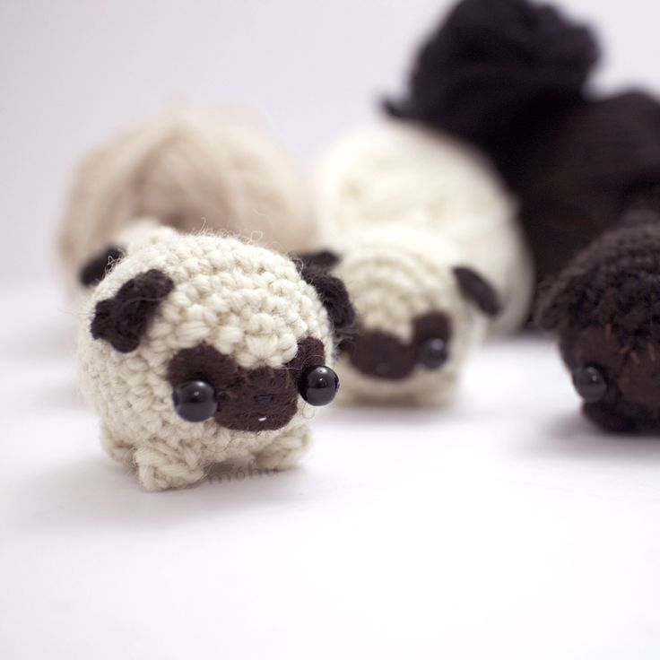 Crochet pattern - little pug dog.  #amigurumi #pug #crochet