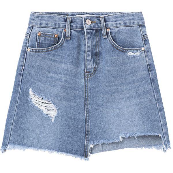 Damaged A-Line Mini Denim Skirt ❤ liked on Polyvore featuring skirts, mini skirts, short mini skirts, denim skirt, blue skirt, distressed denim skirt and ripped denim skirt