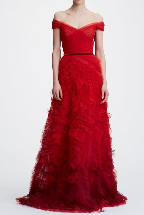 636ca214 Marchesa Notte N26G0724 Red Off the Shoulder Ombre Textured Gown | Poshare