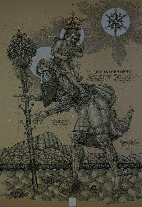 О. Денисенко «Святой Христофор», 2016, 65×42