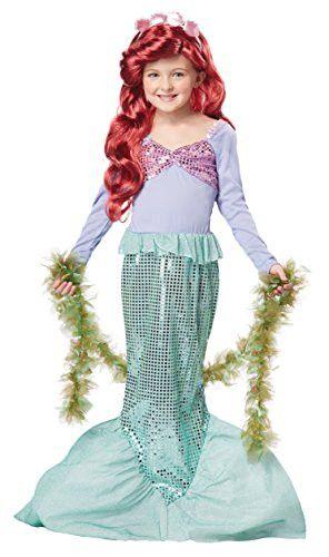 California Costumes Little Mermaid Girls Costume, Seaweed Boa & Wig Bundle Costume, Green